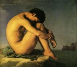 Hippolyte Flandrin, Etude de jeune homme nu au bord de la mer