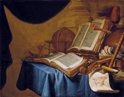 Jan ver Meulen, Stillleben mit Globus, Musikinstrumenten, Büchern und Rötelzeichnung