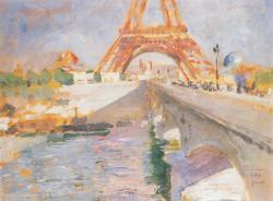 Carl Larsson, Eiffelturm im Bau