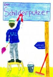 Der Schilderputzer (Bild von Annika Mohn und Johanna Rickel, Klasse 6c)