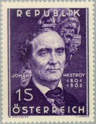 Johann Nepomuk Nestroy - Briefmarke der Republik Österreich